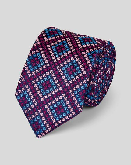 Puppytooth Silk English Luxury Tie - Pink Multi
