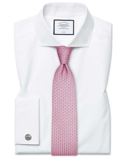 Super slim fit spread collar non-iron poplin white shirt