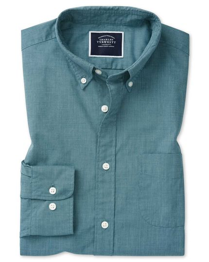 Classic fit soft washed stretch poplin green shirt