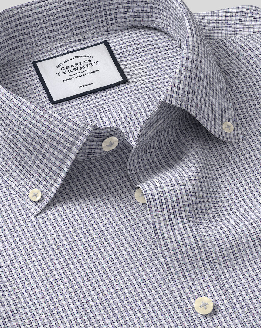 Button-Down Collar Non-Iron Check Shirt - Grey & Blue
