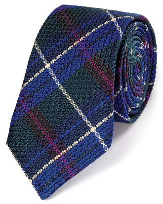 Green silk check grenadine Italian luxury tie
