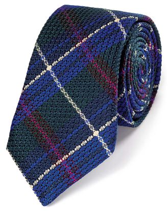 Green silk check grenadine Italian luxury tie