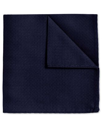Navy textured plain classic pocket square