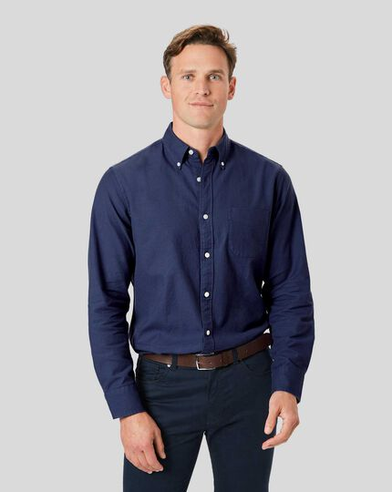 Button-Down Collar Washed Oxford Shirt - Blue
