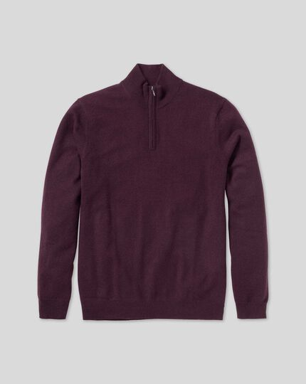 Cashmere Zip Neck Jumper - Wine