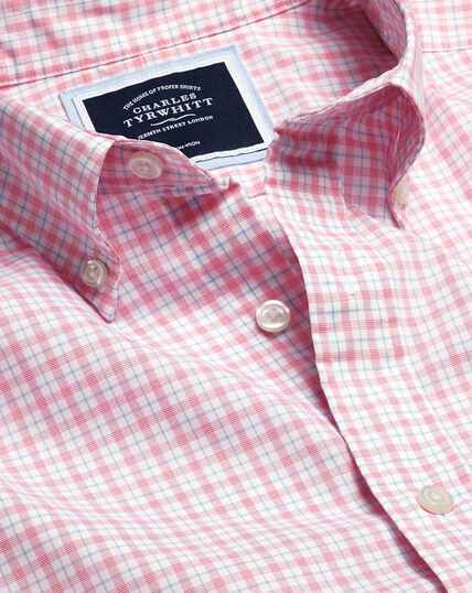 Button-Down Collar Non-Iron Stretch Poplin Check Short Sleeve Shirt - Coral & Blue