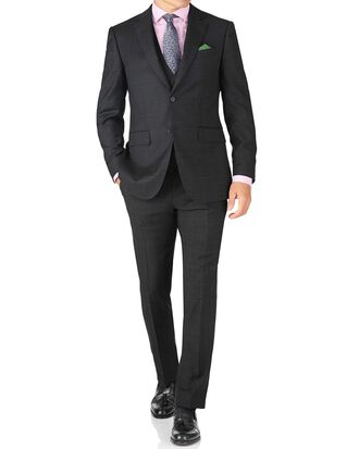 Slim Fit Reiseanzug aus Sharkskin in Anthrazit
