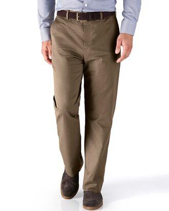 Pantalon brun clair en sergé de cavalerie stretch coupe droite