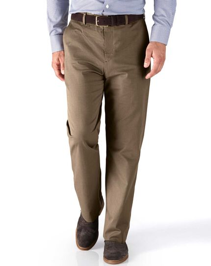 Tan classic fit stretch cavalry twill trousers