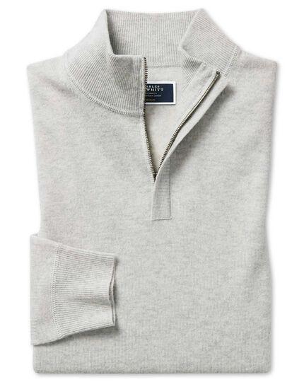 Light grey merino cashmere zip neck sweater