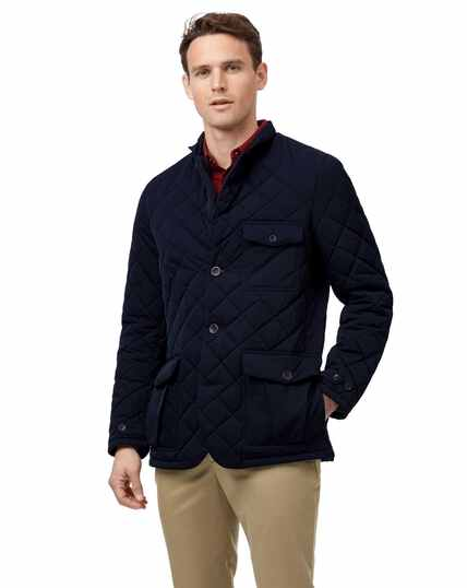 Navy showerproof quilted sports blazer