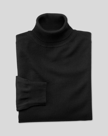Black merino wool roll neck sweater