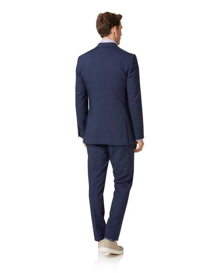 Navy slim fit step weave suit jacket