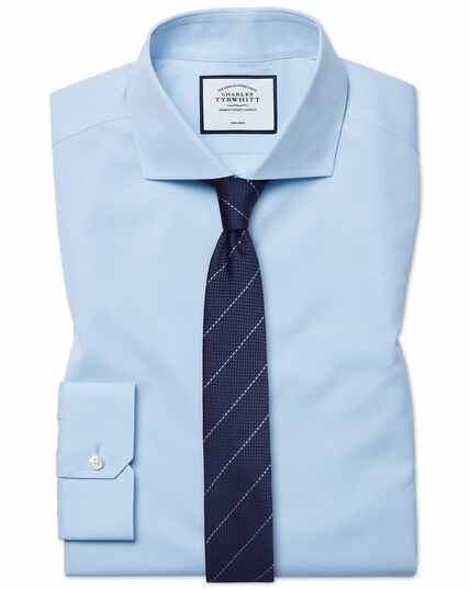 Super slim fit cutaway collar non-iron poplin sky blue shirt