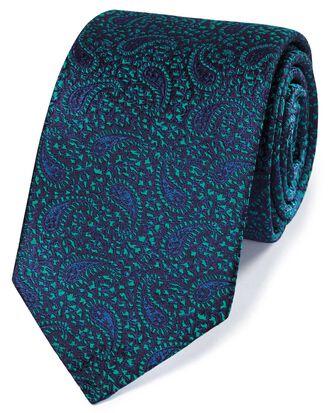 Cravate de luxe bleu marine et verte en soie anglaise à motif cachemire