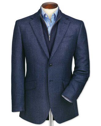 Classic fit blue birdseye lambswool jacket