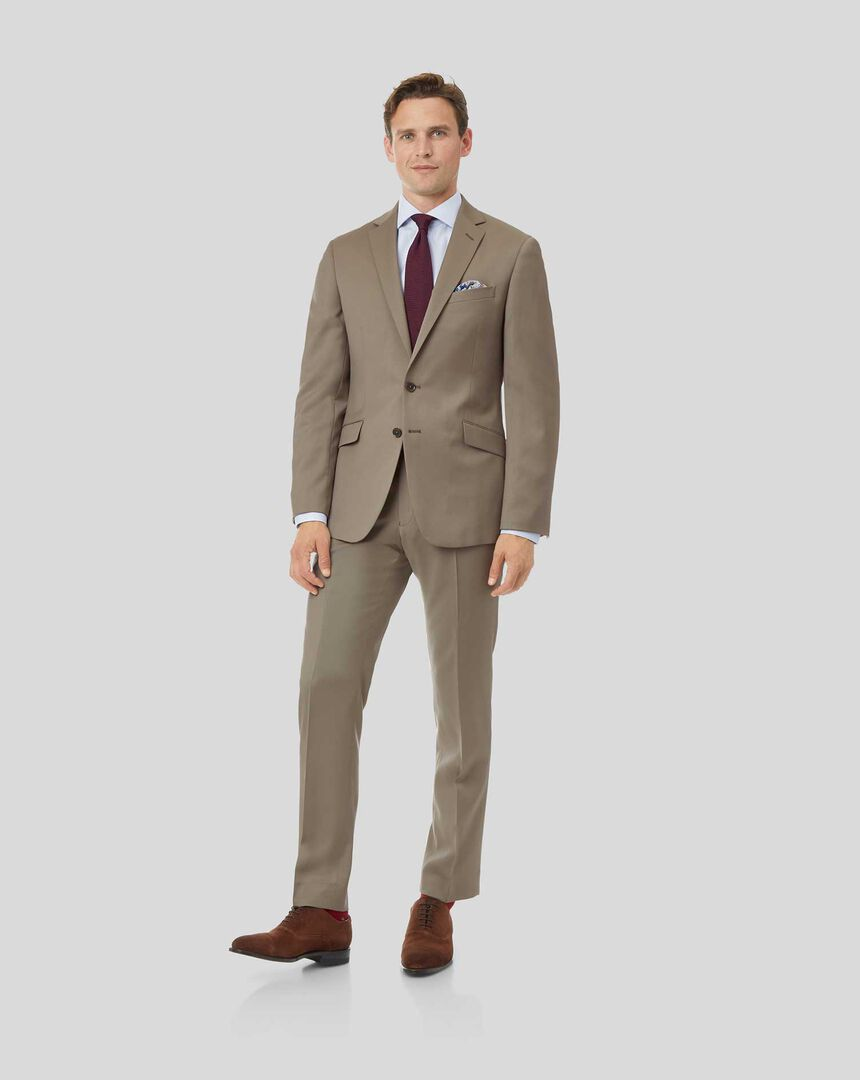 Natural Stretch Italian Suit - Stone