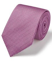 Pink and white silk tonal semi plain classic tie