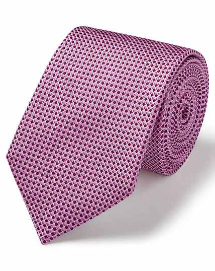 Pink and white silk tonal semi plain classic tie