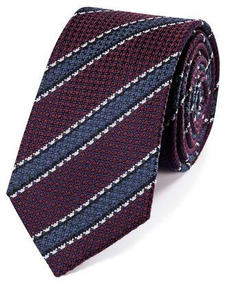 Burgundy wool and silk stripe classic tie