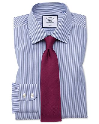 Extra slim fit non-iron Bengal stripe navy shirt