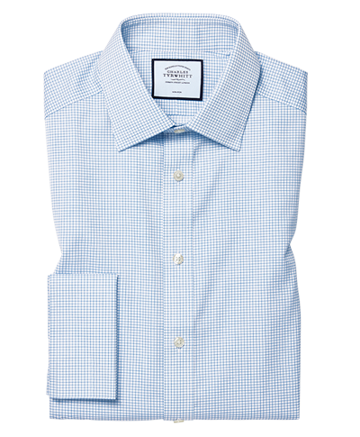 Classic fit non-iron sky blue mini grid check twill shirt