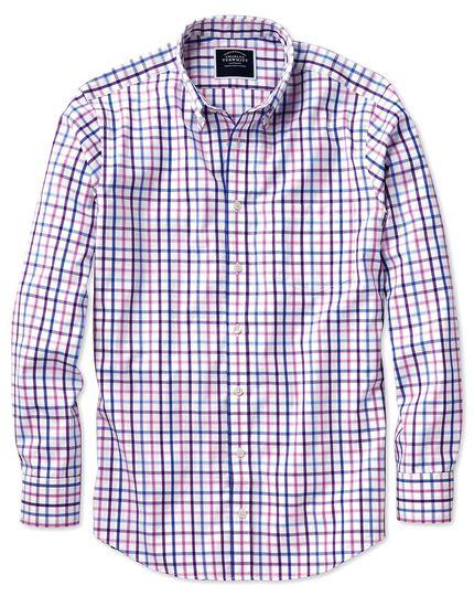 Classic fit button-down non-iron poplin lilac multi check shirt