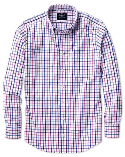 Slim fit button-down non-iron poplin lilac multi check shirt