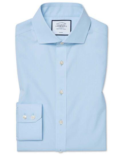 Bügelfreies Tyrwhitt Cool Extra Slim Fit Hemd mit Haifischkragen in Himmelblau