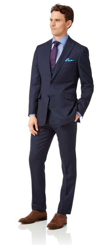 Costume business bleu marine jaspé slim fit