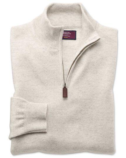 Chalk white cashmere zip neck sweater