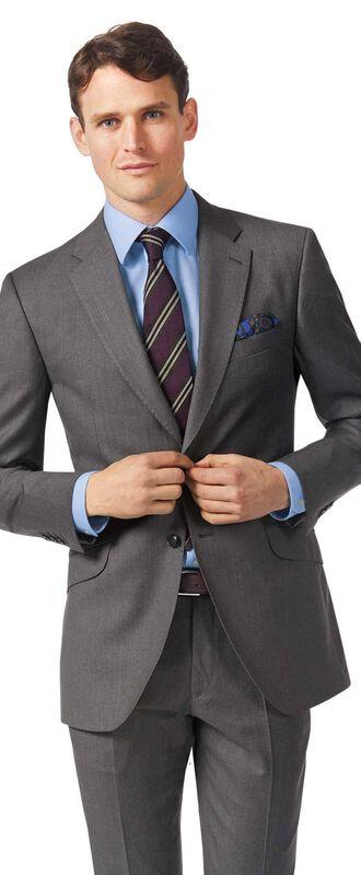 Veste de costume de luxe grise en twill italien slim fit