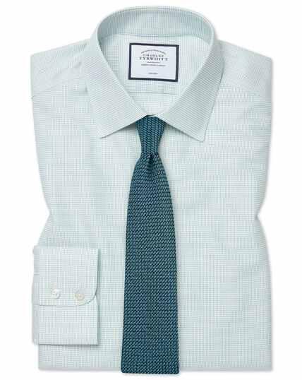 Classic fit non-iron dash weave green shirt