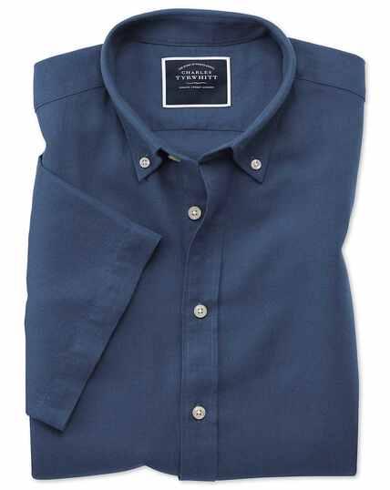 Slim fit dark blue cotton linen twill short sleeve shirt
