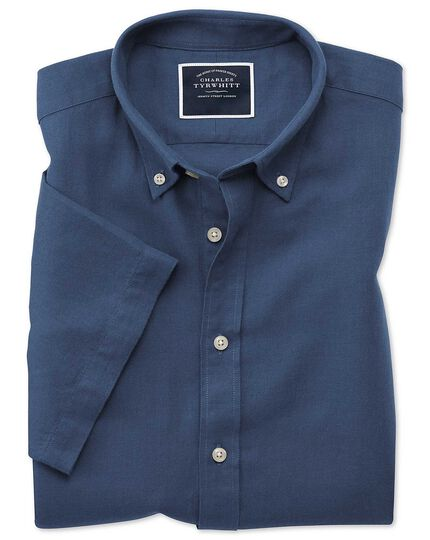 Slim fit dark blue cotton linen twill short sleeve shirt