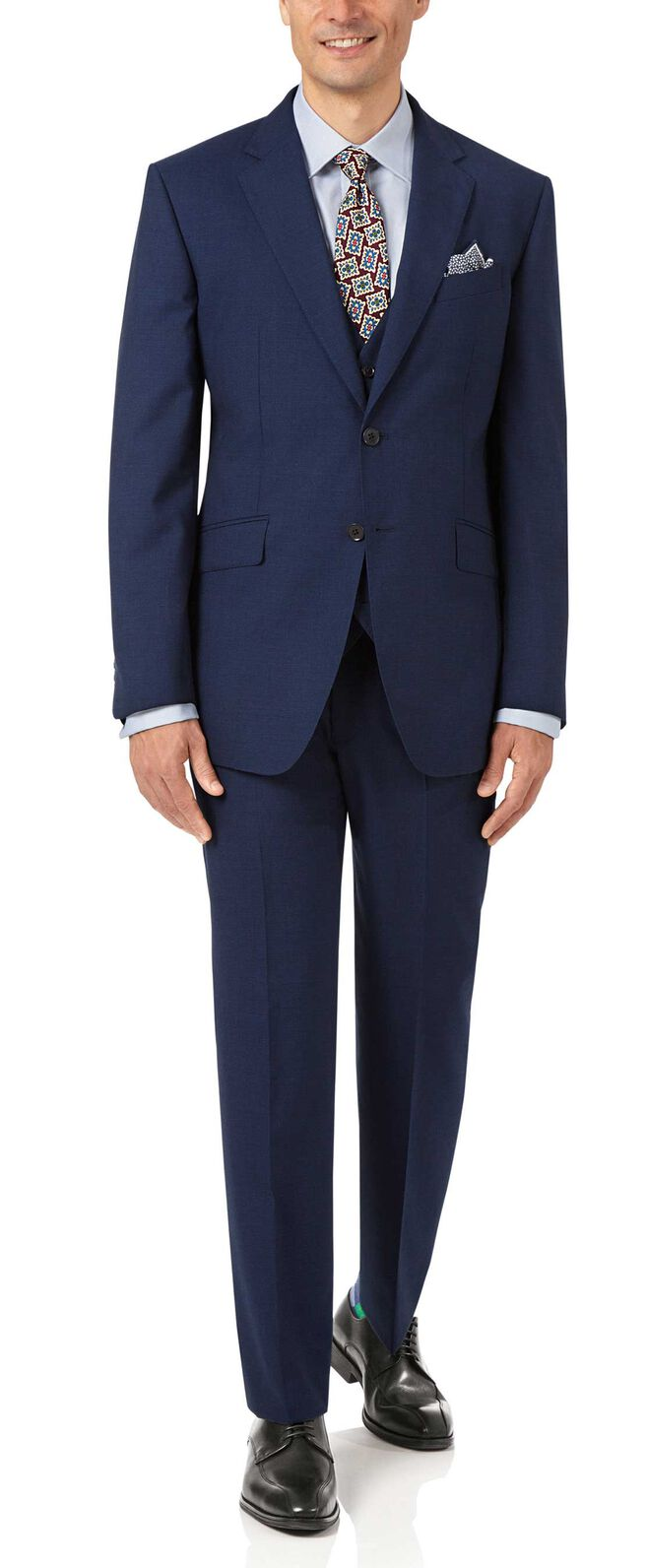 Indigo blue slim fit Panama puppytooth business suit