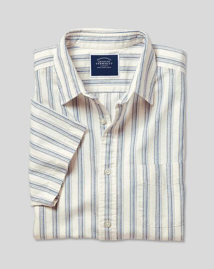 Classic Collar Short Sleeve Cotton Linen Stripe Shirt - White & Blue