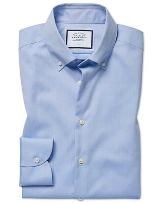 Extra slim fit business casual non-iron sky blue check shirt