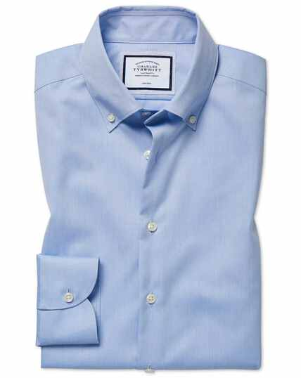 Extra slim fit business casual non-iron sky blue shirt