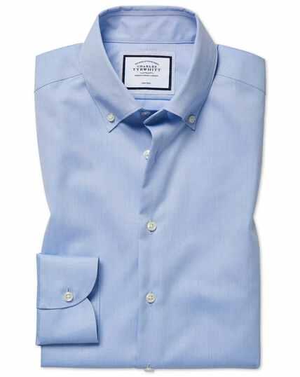 Bügelfreies Extra Slim Fit Business-Casual Hemd mit Button-down Kragen in Himmelblau