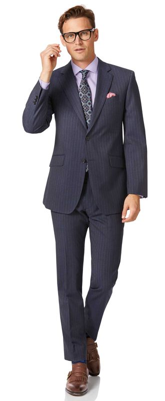 Airforce blue stripe classic fit Panama business suit