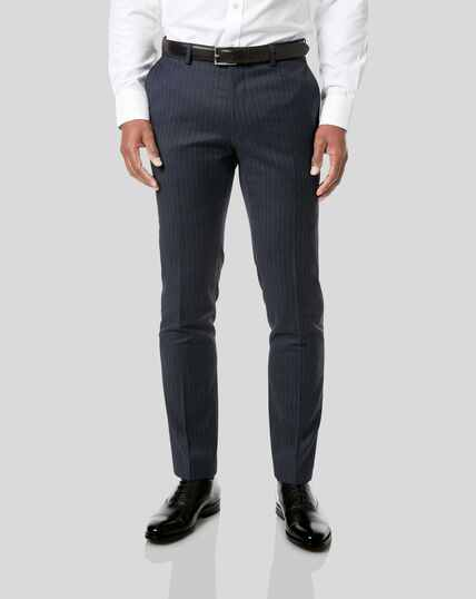 Italian Stripe Suit Trousers - Dark Blue