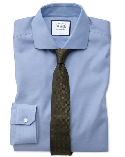 Super slim fit non-iron cutaway collar mid-blue Oxford stretch shirt