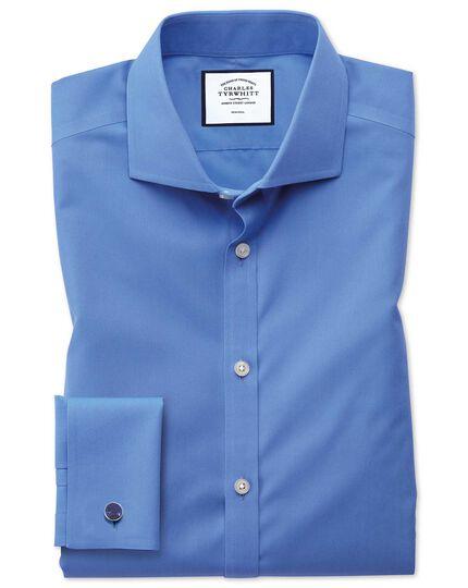 Extra slim fit blue non-iron poplin shirt