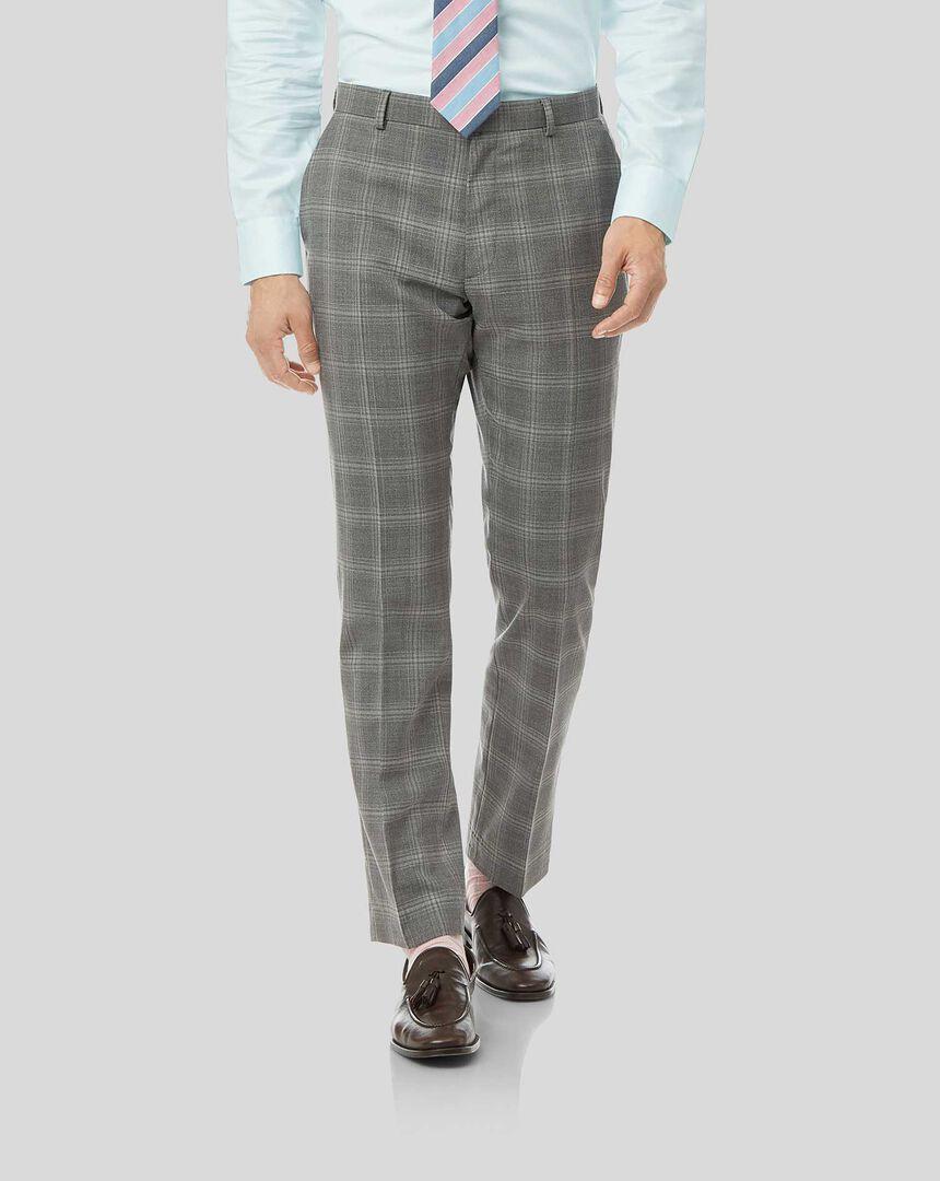 Check Suit Pants - Light Grey