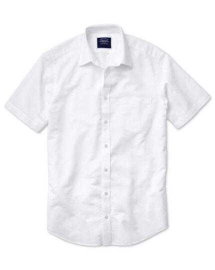 Slim fit cotton linen short sleeve white plain shirt