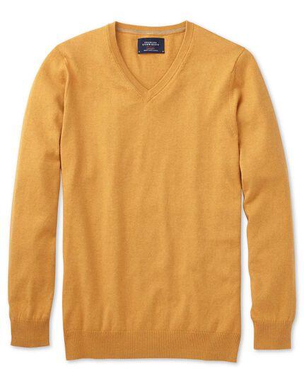 Yellow cotton cashmere v-neck jumper