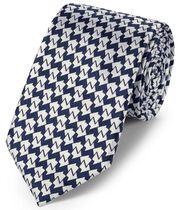 Klassische Krawatte aus Seide in Marineblau mit geometrischem Design