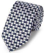 Navy blue silk geometric classic tie