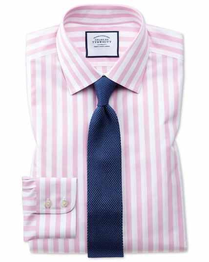 Chemise rose coupe droite à rayures bengale sans repassage